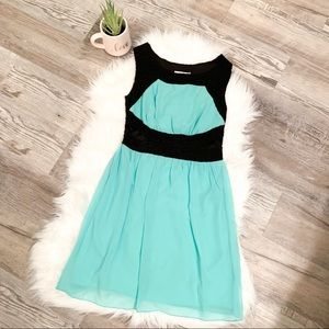 Sweet Storm Turquoise and Black Sleeveless Dress